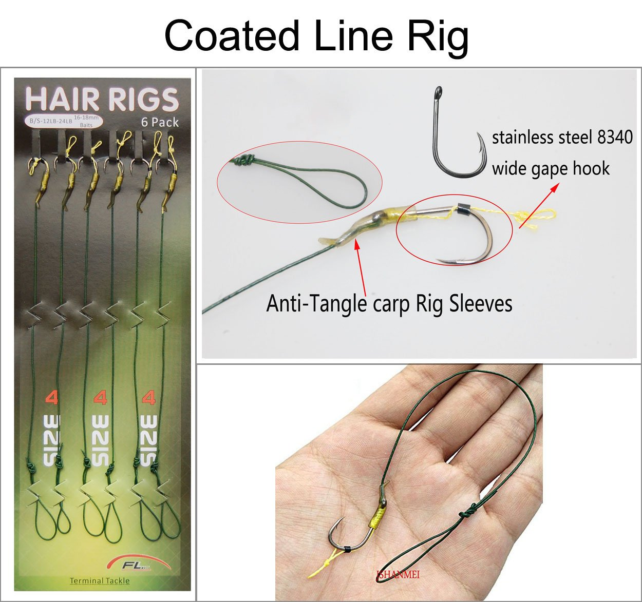 JSHANMEI Carp Fishing Leader Hair Rigs with Coated Line Wide Gape Hooks Boilies Carp Rigs Lure Connector Size 2 4 6