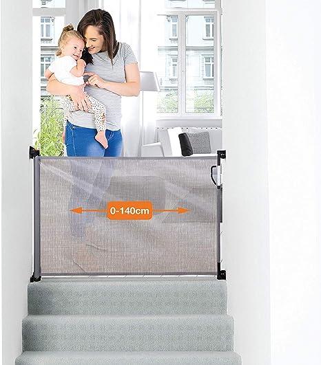 Dreambaby® G9781BB (0-140cm) - Barrera de Seguridad Extensible/Retráctil para Puertas y Escaleras. Extra Alta, Reubicable, para Uso en Interiores y Exteriores. Nueva Versión 2019! (Color: Gris): Amazon.es: Bebé