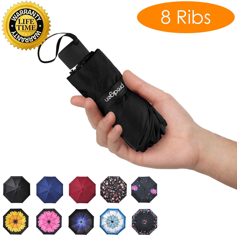 Prodigen Travel Mini Umbrella Windproof UV Folding Compact Umbrella Portable Lightweight Sun & Rain Umbrellas for Women and Men (Black)