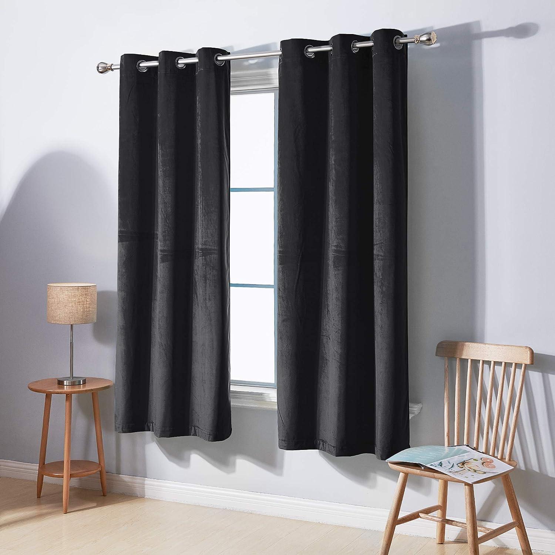 Deconovo Home Decor Velvet Room Darkening Thermal Insulated Blackout Grommet Curtains Window Light Blocking Drapes for Bedroom 42W x 72L Inch Black Set of 2 Panels