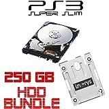 i.norys 250GB Festplatte für SONY PS3 Super Slim (12GB, CECH-400x) + Einbaurahmen + Handbuch/Manual + Positionsschrauben