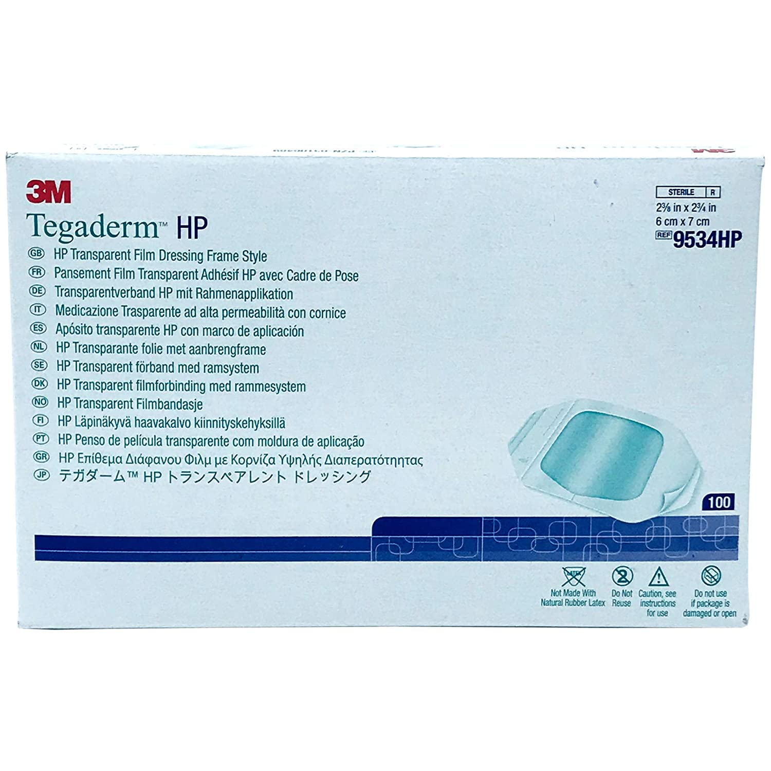 3m Tegaderm Hp Transparent Dressing 2.375 x 2.75 in./ 6 x 7 cm/Box of 100