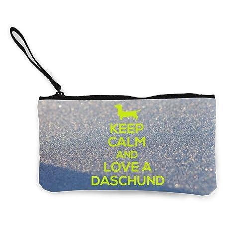 Serity Keep Calm and Love Daschounds - Monedero portátil de ...