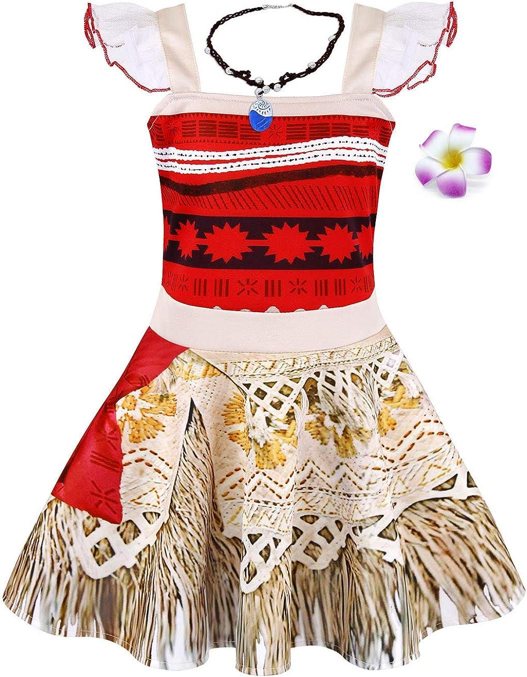 AmzBarley Moana Costume Vestito Bambina Ragazza Carnevale Cosplay Abito Festa di Fantasia Compleanno Partito Halloween Cerimonia Abiti Vestire