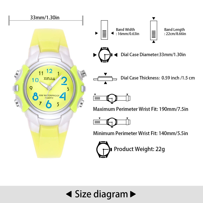 Relojes Analógicos para Niños, Niñas Impermeable Fácil de Leer Relojes de Pulsera con Correa Suave para Niños (Amarillo): Amazon.es: Relojes