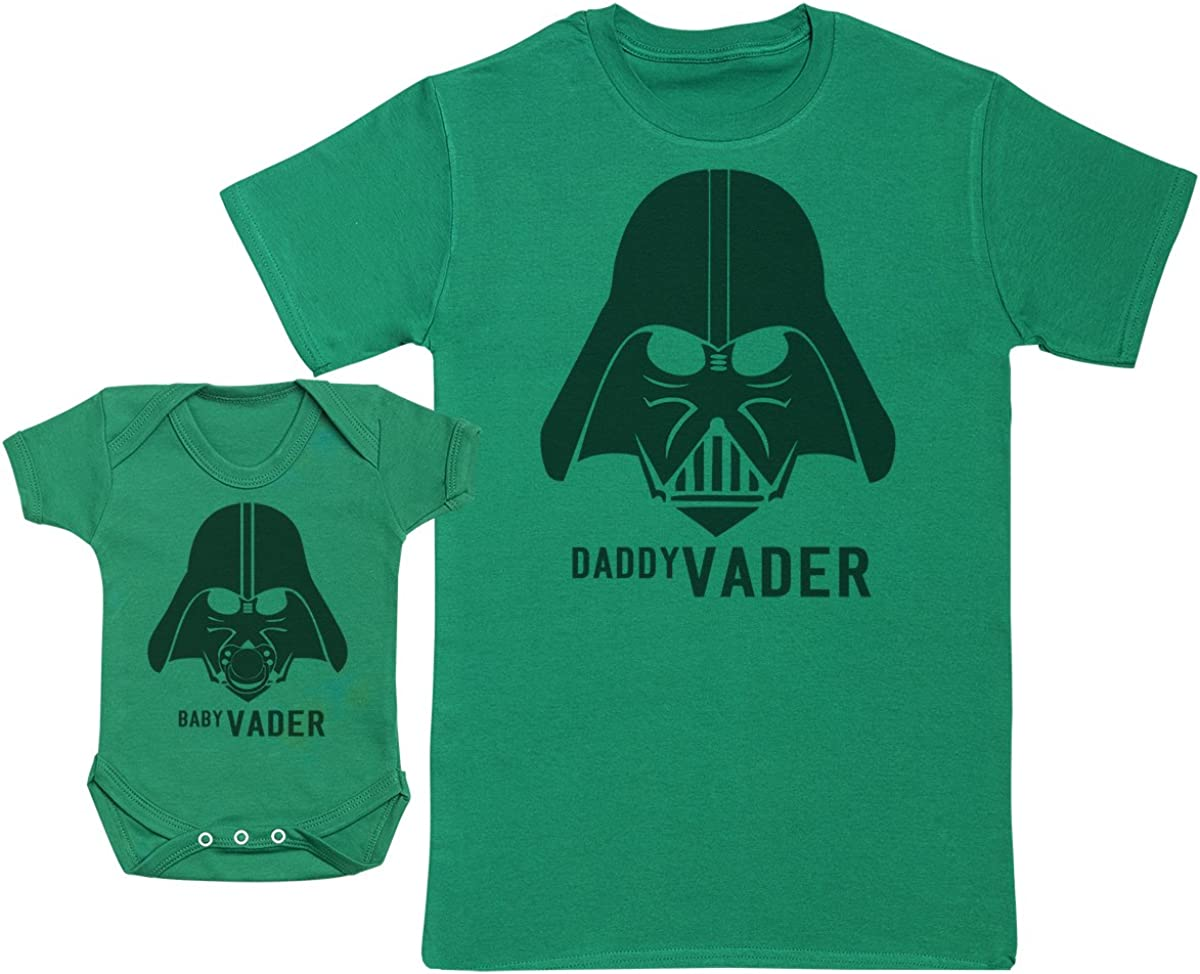 Matching Father Baby Gift Set Mens T Shirt /& Baby Bodysuit Zarlivia Clothing Baby Vader /& Daddy Vader