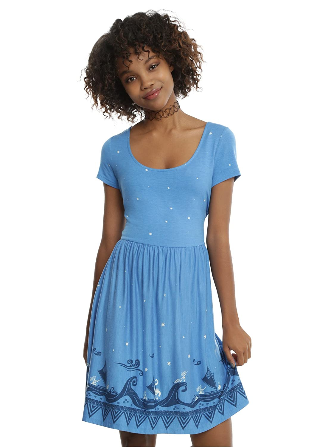 d078d773b99e This beautiful blue dress from Disney\'s Moana has an allover white star  print with a navy and white Polynesian-inspired border print of Moana and  ...
