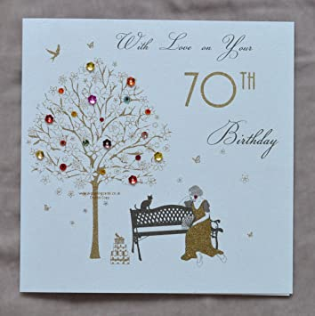 With love on your 70th birthday handmade birthday card et44 quot with love on your 70th birthday quot handmade birthday card bookmarktalkfo Choice Image