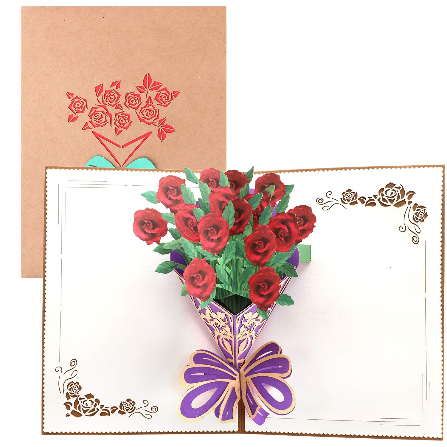 Paper Spiritz Flowers Pop Up Cards Birthday For Kids Anniversary Wedding Get Well All Occasion Laser Cut 3D Card Love Handmade Thank You