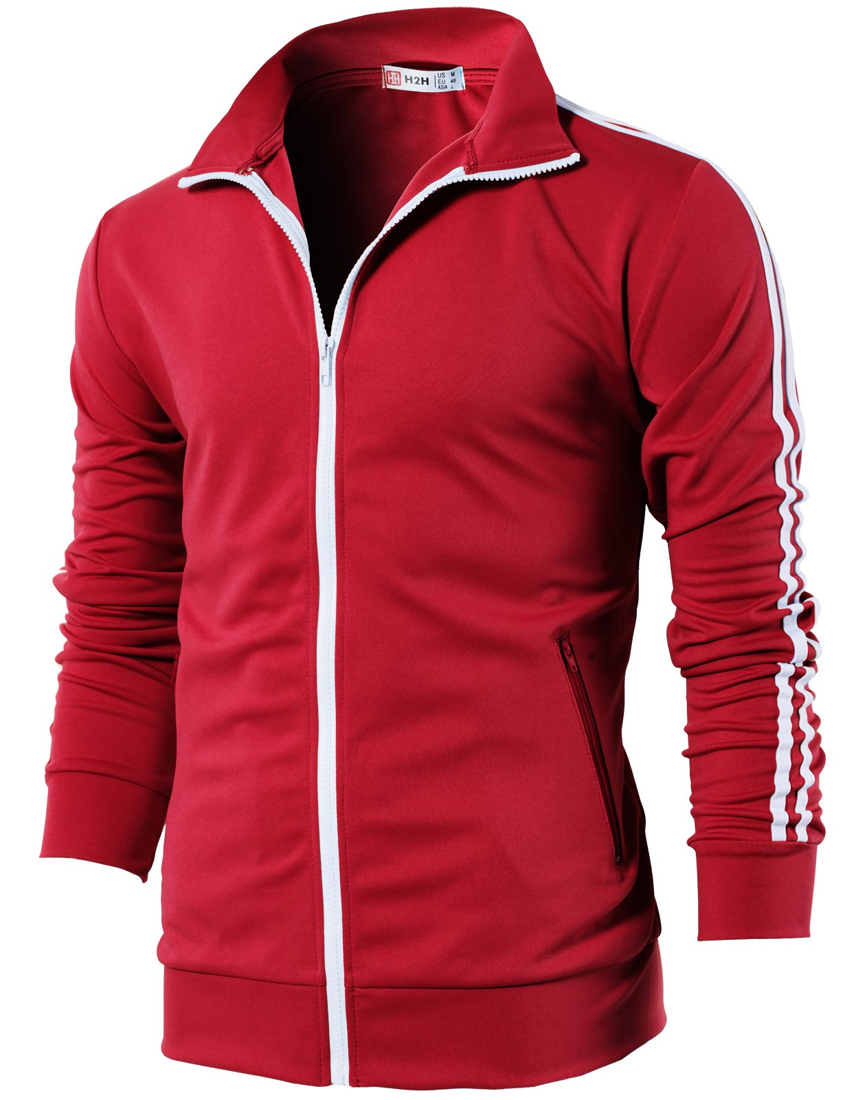 H2H Mens Slim Fit Basic Zip-up Long Sleeves Training Jacket Red US L/Asia XL (CMOJA0103) by H2H