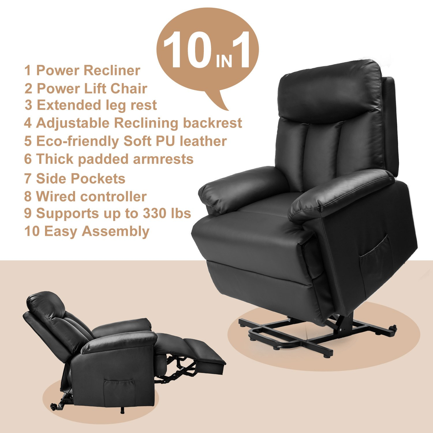 Amazon Merax Power Lift Chair and Power Recliner in PU