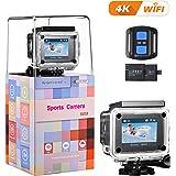"""VicTsing Caméra d'Action 4K WiFi Ultra HD Caméra Sport Etanche 16MP 170° Super Grand Angle 2"""" LCD avec 2.4G Télécommande, 2 * 1050mAh Batteries Rechargeables, Accessoires Gratuits"""