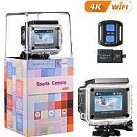 VicTsing Cámara de acción 4K WiFi Ultra HD cámara Deportiva Impermeable 16MP 170° Super Gran Angular 2Pulgadas LCD con 2.4G a Distancia, 2* 1050mAh baterías Recargables, Accesorios gratuitos