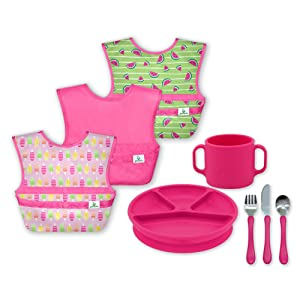 green sprouts Mealtime Toddler Complete Learning Collection Roll up Messy bib, snap, & go Non-Slip Silicone Cup Divided Plate, Suction Base Learning Cutlery Set Made from Safer Materials