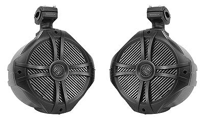 "Pair Rockville RWB90B Black 8"" 300w Marine Wakeboard 360° Swivel Tower Speakers"