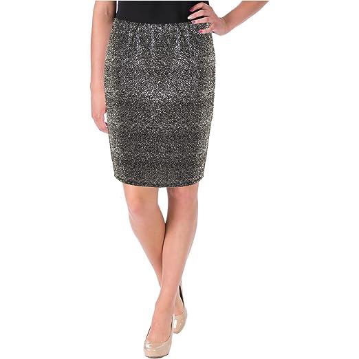4c36616e6dd Aqua Womens Metallic Pull On Pencil Skirt Silver S at Amazon Women s ...