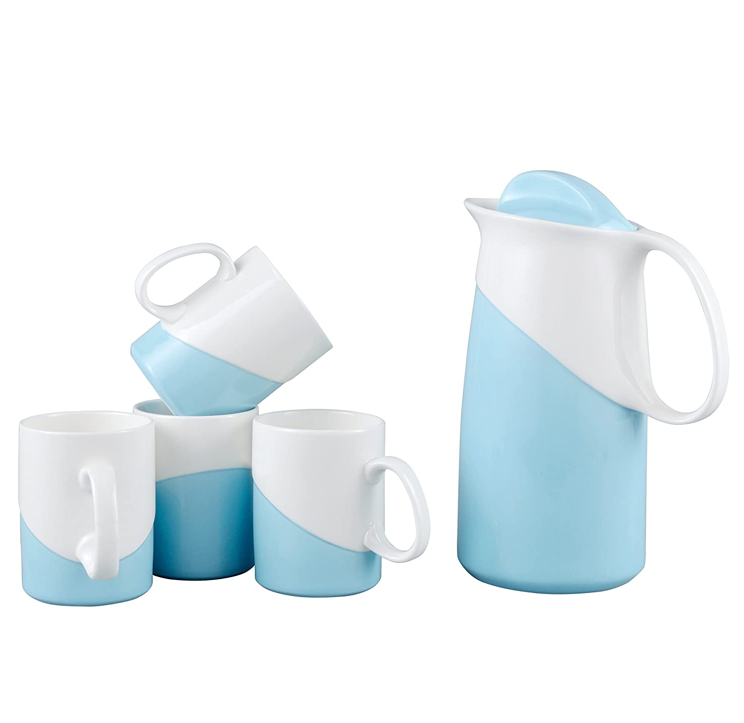 Neolith Simple Water Tea Cup and Kettle Set (Deep Sky Blue, Set of 5)