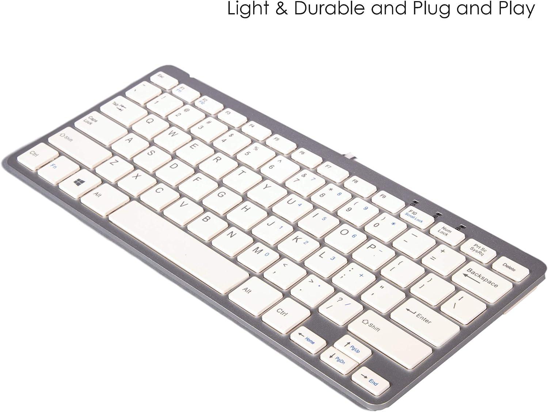 TRIXES Mini Tastiera con Connessione USB Slim Formato di US Colore Bianco e Argento -