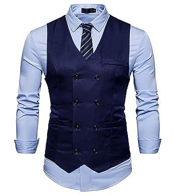 AIEOE - Chaqueta de Traje para Hombre Ropa de Chaleco de Vestido Chalecos Casuales sin Mangas de Doble Botonadura para Hombres