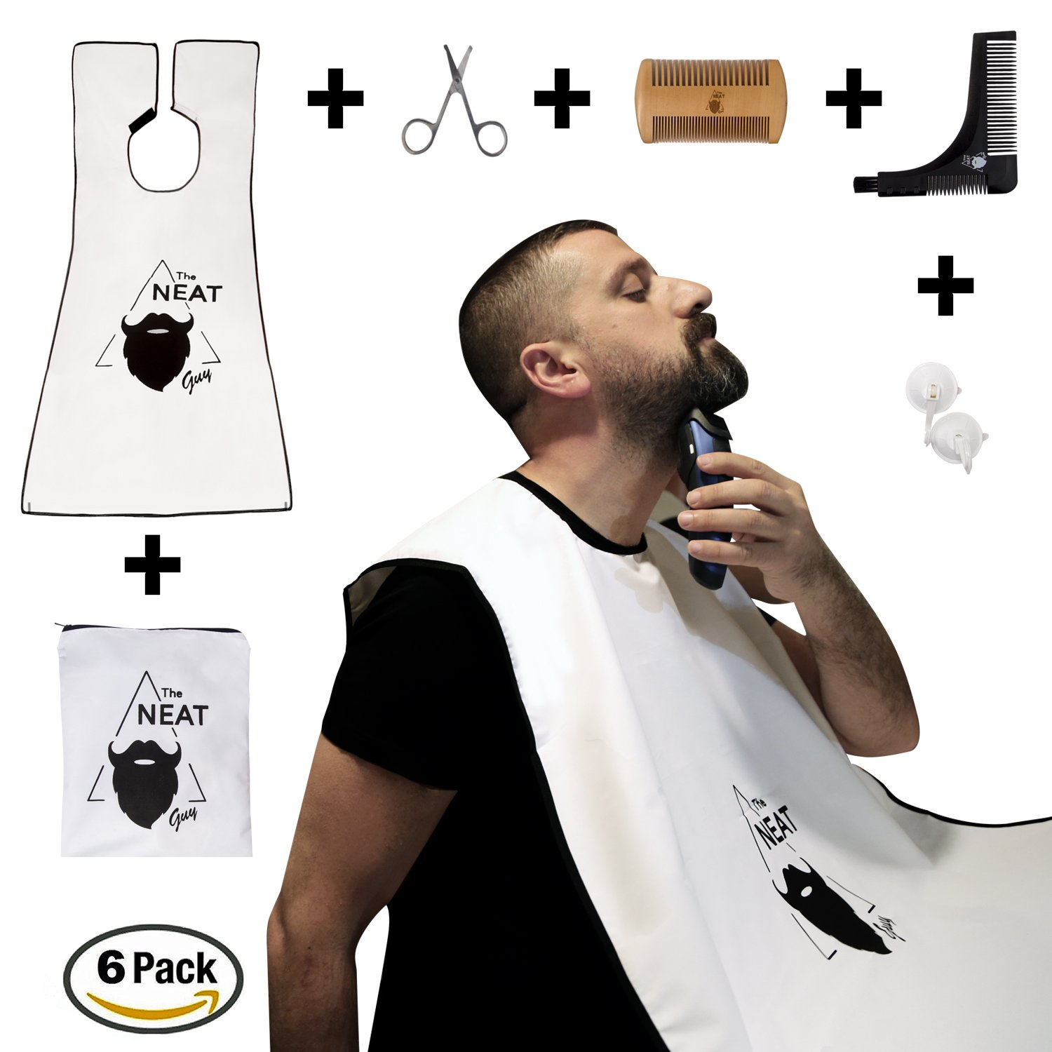 The Neat Guy 6-PACK Beard Kit with Beard Apron/Bib for Mess-Free Shaving + Shaping Tool + Comb + Scissor + Bag, All you Need for a Good, Clean Shave, The Perfect Gift