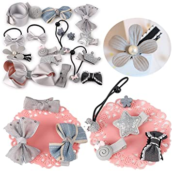 Amazon.com   Doubtless Bay Hair Clips Accessories Baby Kids Teens Girls Hair  Bands Bows Barrettes Hairpins Set (gray)   Beauty 7ea5fc4f262