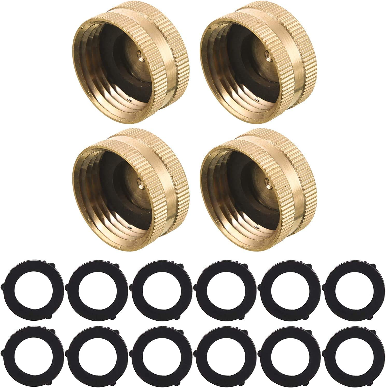 Garden Hose Female End Cap (4 Brass End Caps - 12 Extra Washers) | Helps Fix Leaky Spigot, Water Faucet, Sprinkler & Garden Hose | Female Threaded (3/4