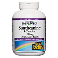 Stress-Relax Chewable Suntheanine L-Theanine 100 mg by Natural Factors, Non-Drowsy Stress Support for Mental Calmness and Relaxation, Tropical Fruit Flavor, 120 Tablets (60 Servings)