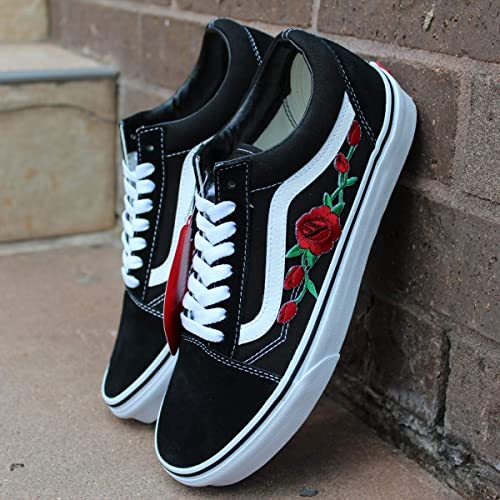 0295135867544 Vans Red Old Skool Embroidered Red Rose Custom Handmade Shoes By Patch  Collection