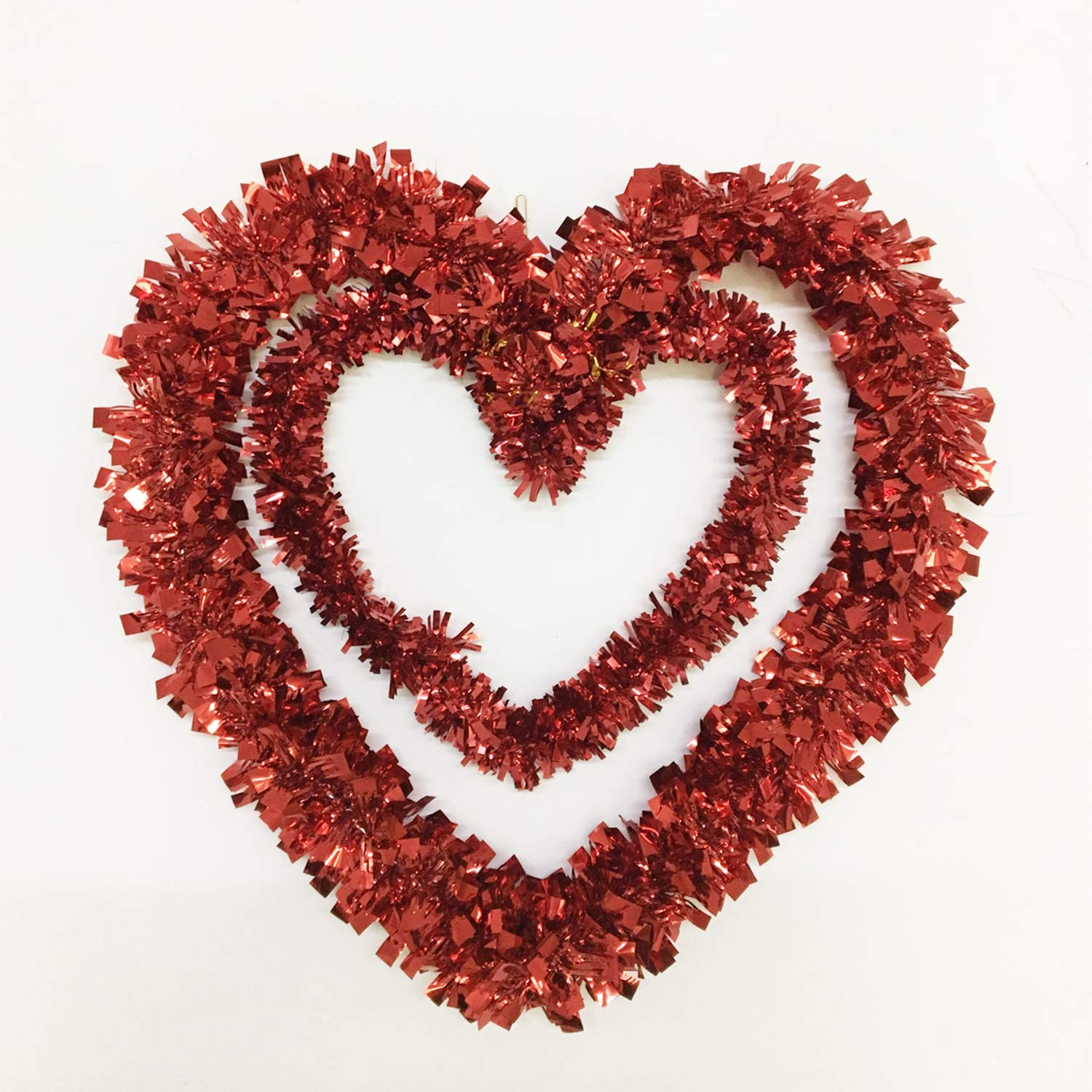 Red Tinsel Heart Wreath Decorations - Double Heart Shaped Decor for Front Door Wall - Valentine Day Wreath Decorations Outdoor Indoor - Artificial Heart Decorations for Party, 12 Inch