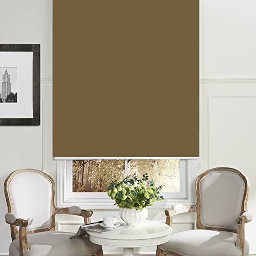 PASSENGER PIGEON Blackout Window Shades, Premium Adhesive Light Filtering UV Protection Custom Roller Blinds, Stone Color-Custom Size Please Contact Customer Service for Price