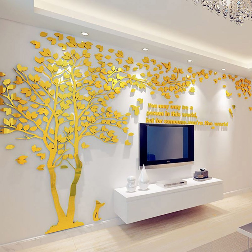 N.SunForest 3D Crystal Acrylic Couple Tree Wall Stickers Gold Self ...