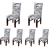 6 x Soft Spandex Fit Stretch Short Dining Room Chair Covers with Printed Pattern, Banquet Chair Seat Protector Slipcover…