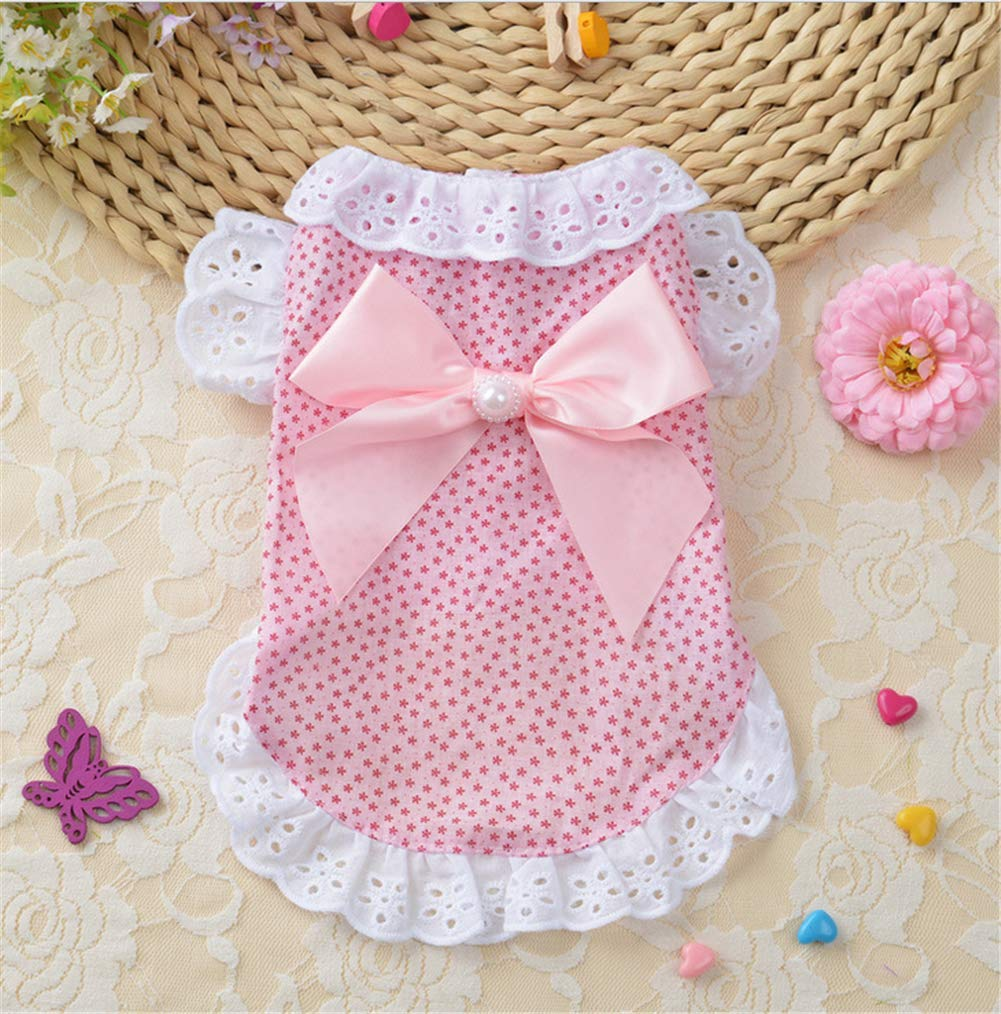 Puppy Dog Cute Princess Elegant Floral Dress,Cotton Lace Skirt with Bowknot for Small Dogs Cats