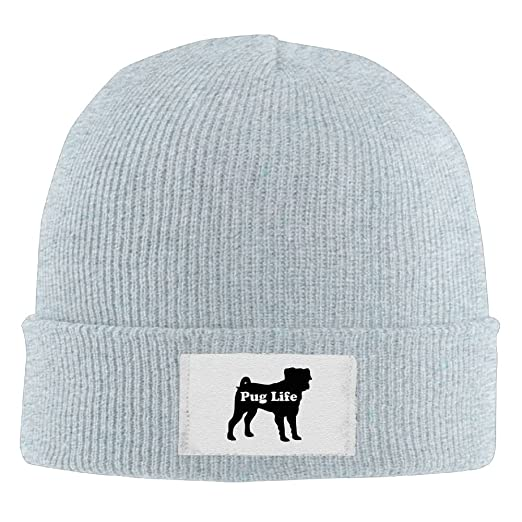 PWLLS Unisex Pug Life Dog Graphic New Beanie Hat Cool Beanie Smart Cap  Fashion For Outdoor ae771230c9c