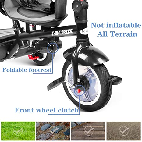besrey 7 en 1 Triciclos Bebes reclinable con Asiento Giratorio ...