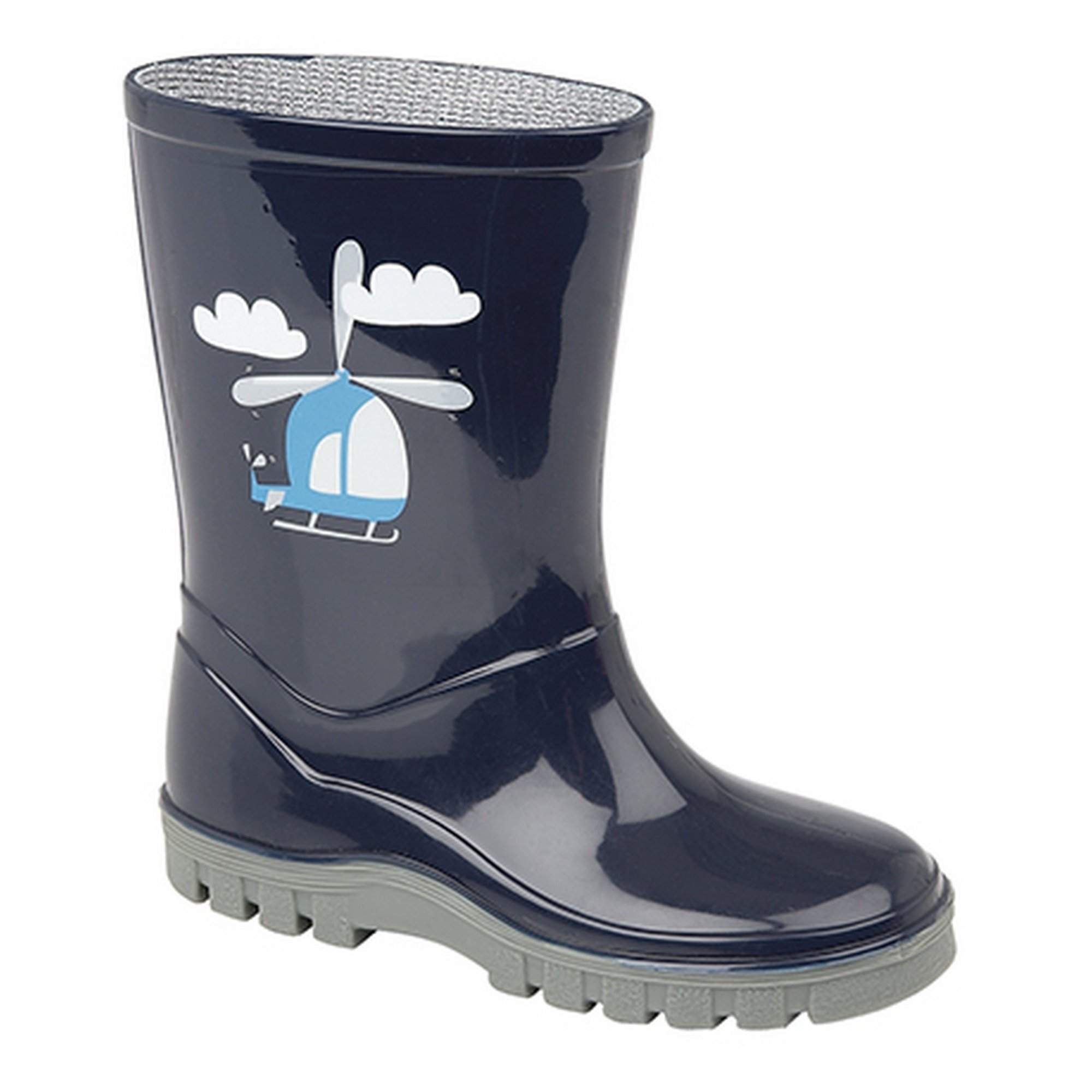Stormwell Childrens/Boys Helicopter PVC Wellington Boots (11 US Junior) (Navy Blue/Gray)