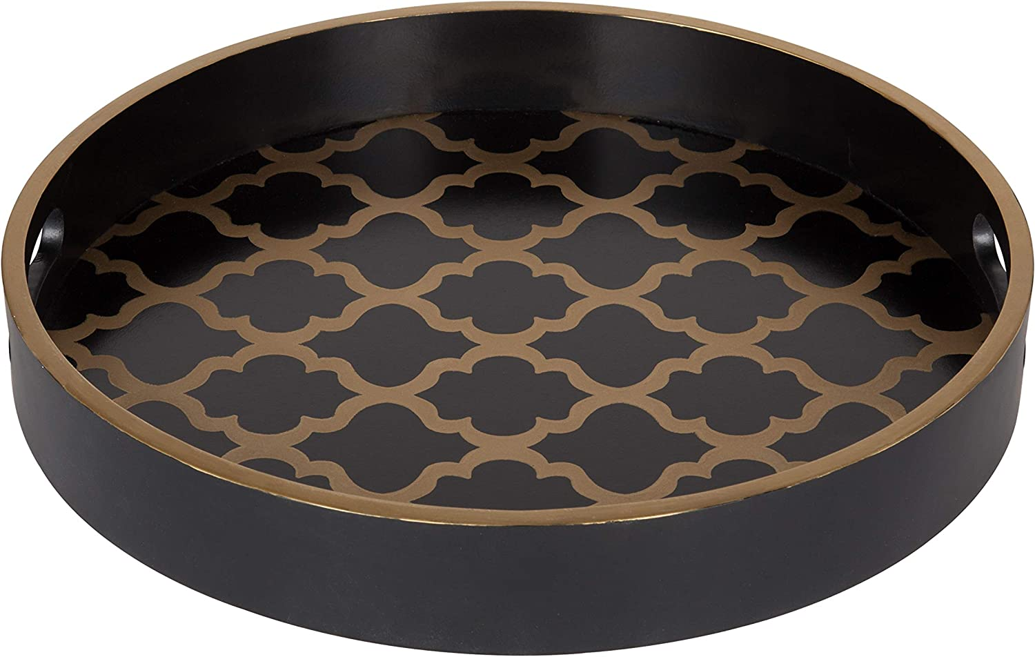 Kate and Laurel Palm Nesting Round Wood Decorative Accent Trays Black and Gold