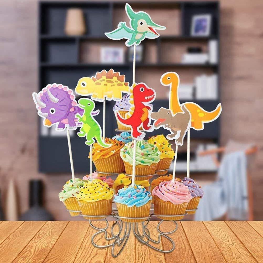 24 X Niños Dinosaurio Cup Cake Toppers Glaseado