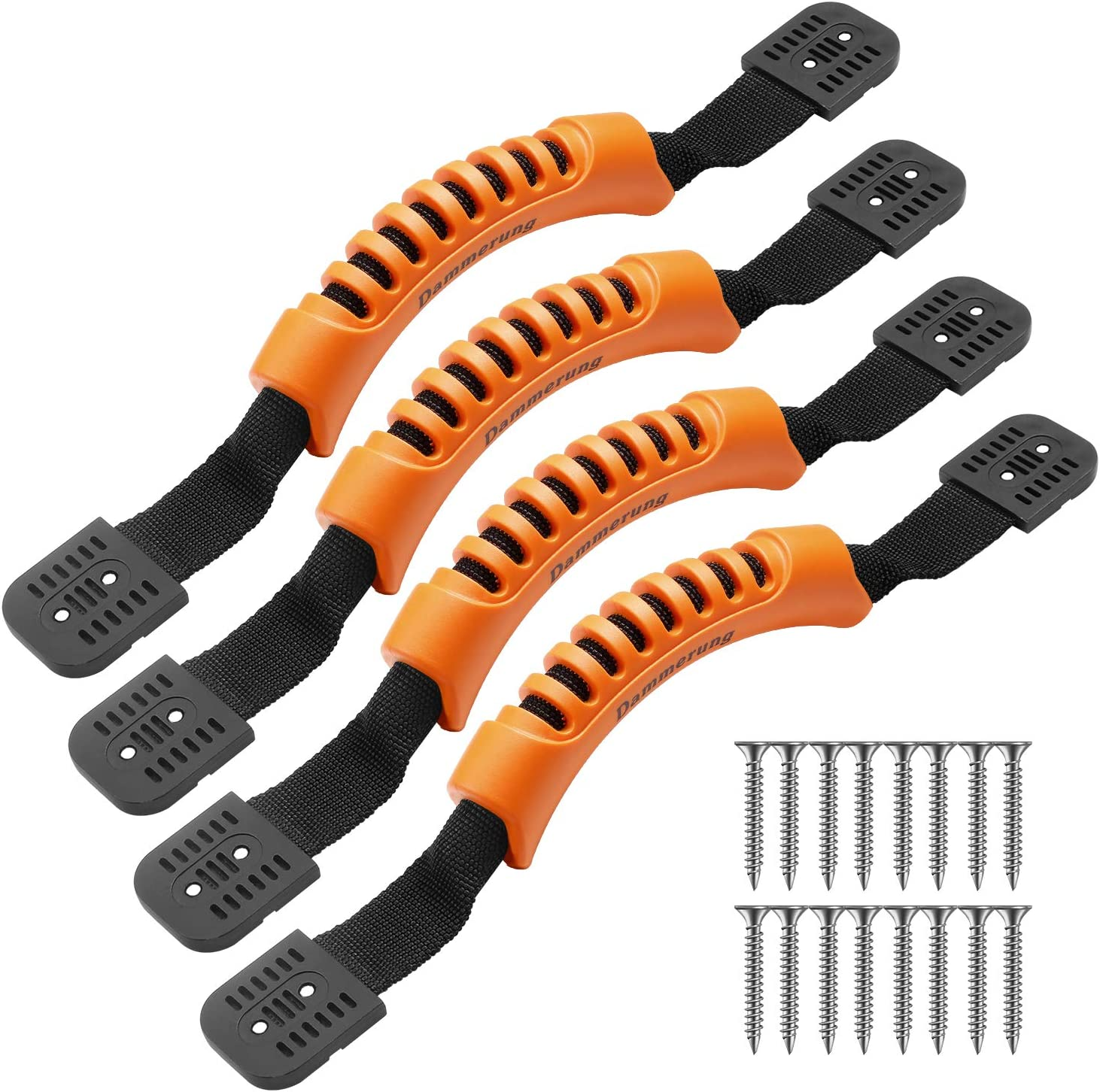 Dammerung 4 Pcs Kayak Carry Handles with Screws Canoe Boat Side Mount Carry Replacement Handles(Slightly Flexible Rubber Handles&600D Nylon Strap)