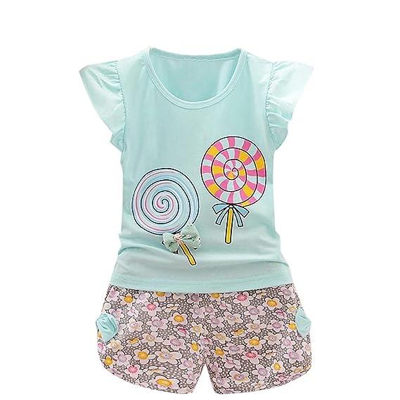 Niña Bebé Verano Ropa Lindo Pirulí Patrón Camiseta de Manga Corta y Pantalones Cortos 1-4 años Niño: Amazon.es: Ropa y accesorios