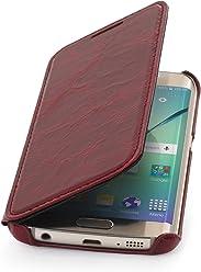 StilGut Housse pour Samsung Galaxy S6 Edge en Cuir véritable à Ouverture latérale, Rouge Lava