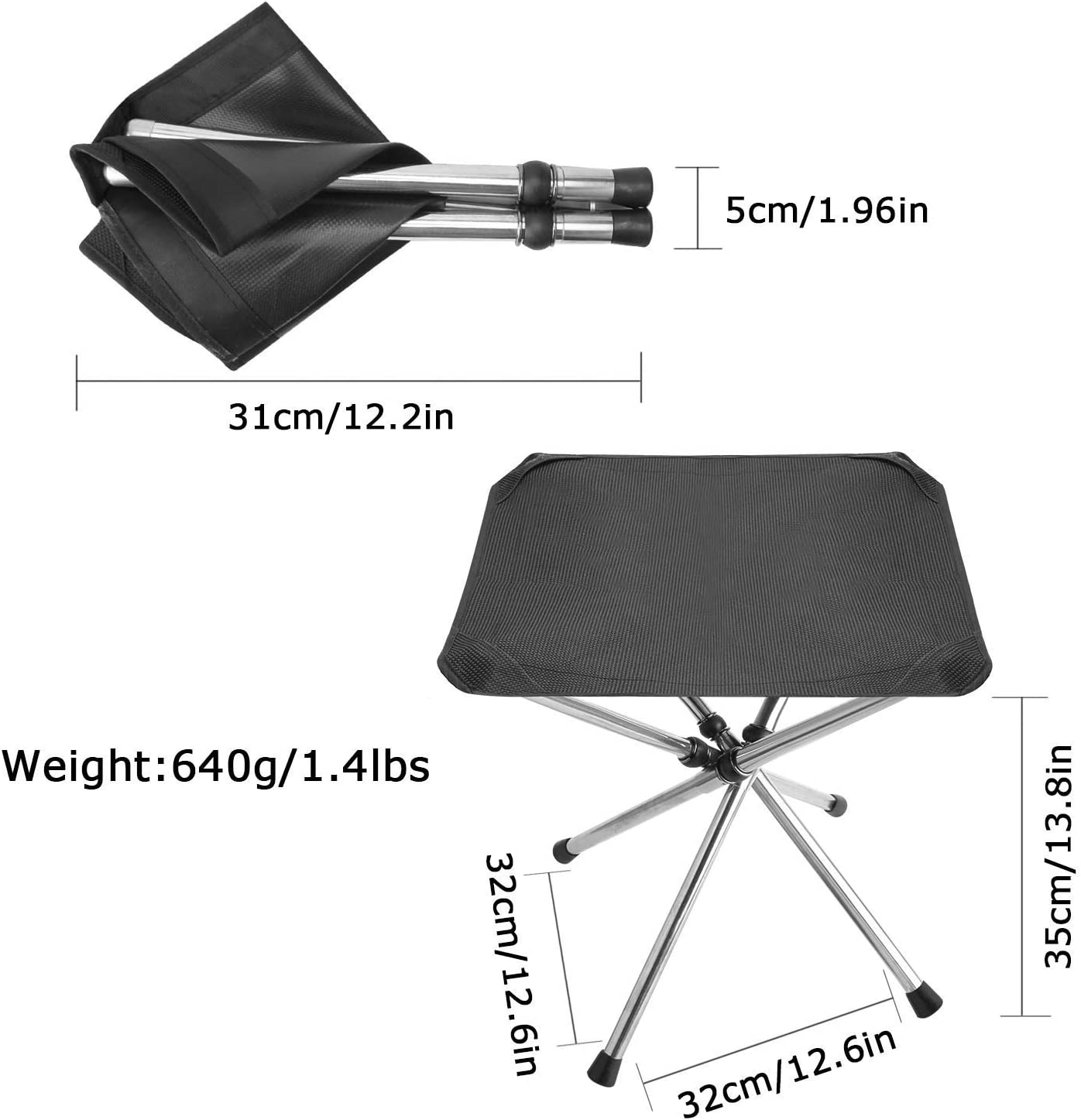 Bottle Buckle for Free Hiking Stainless Steel Foldable Chair for Camping Folding Camping Stool Portable Chair 12.6 inch Large-Size Lightweight Camping Stool BBQ Travel Fishing Beach