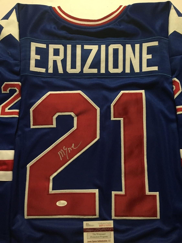 Autographed/Signed Mike Eruzione Team USA Miracle On Ice 1980 Blue Hockey Jersey JSA COA