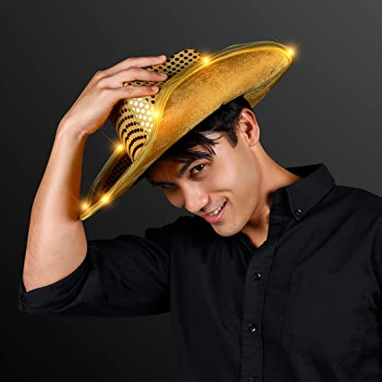 Amazon.com  Shiny Gold Sequin Light Up LED Cowboy Hat  Toys   Games b76f97ed7bd5