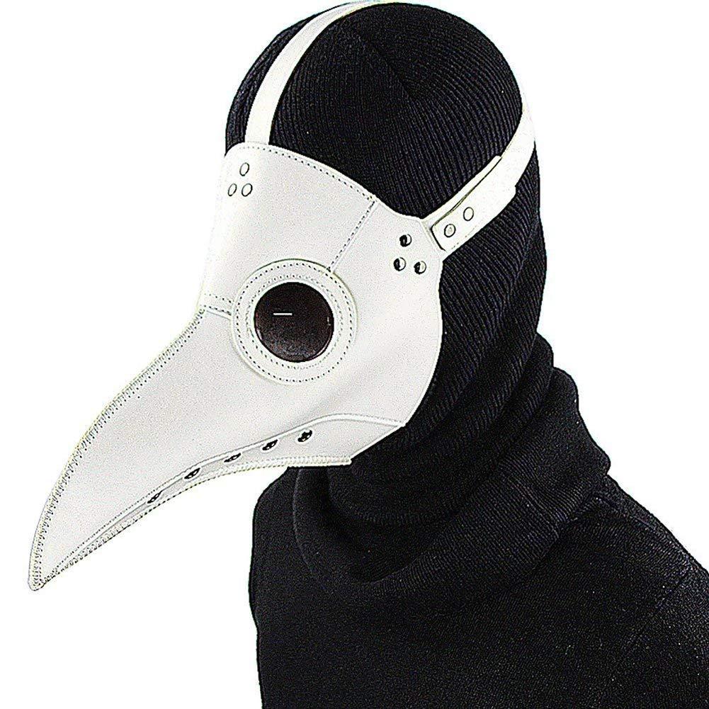 Zicue Humorvolle Maske Maskerade Prom Maske Pest-Doktor-Maske Vögel Lange Nase Schnabel Kunstleder Steampunk Halloween Kostüm Requisiten, Schwarz( Farbe   Weiß ) Weiß