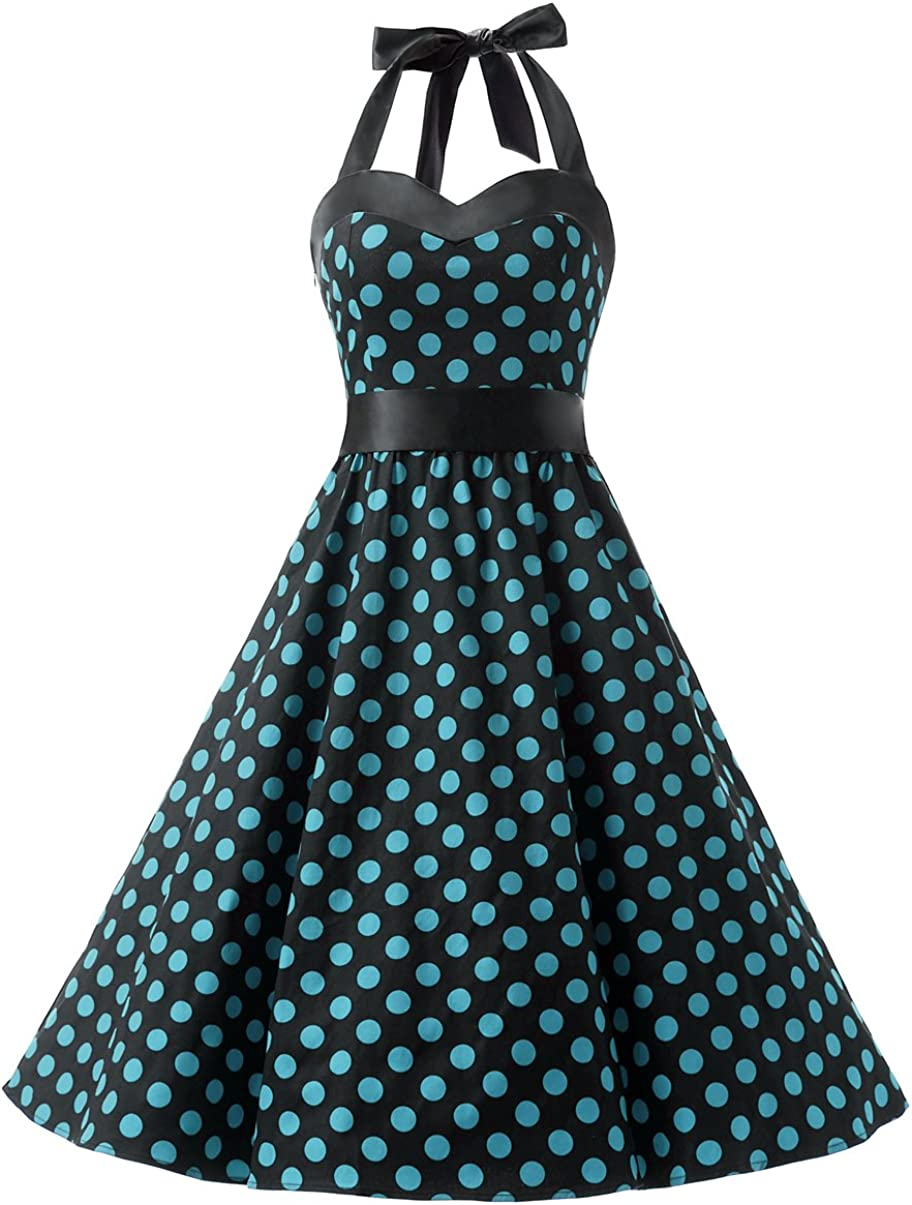 TALLA L. Dresstells® Halter 50s Rockabilly Polka Dots Audrey Dress Retro Cocktail Dress Black Blue Dot L