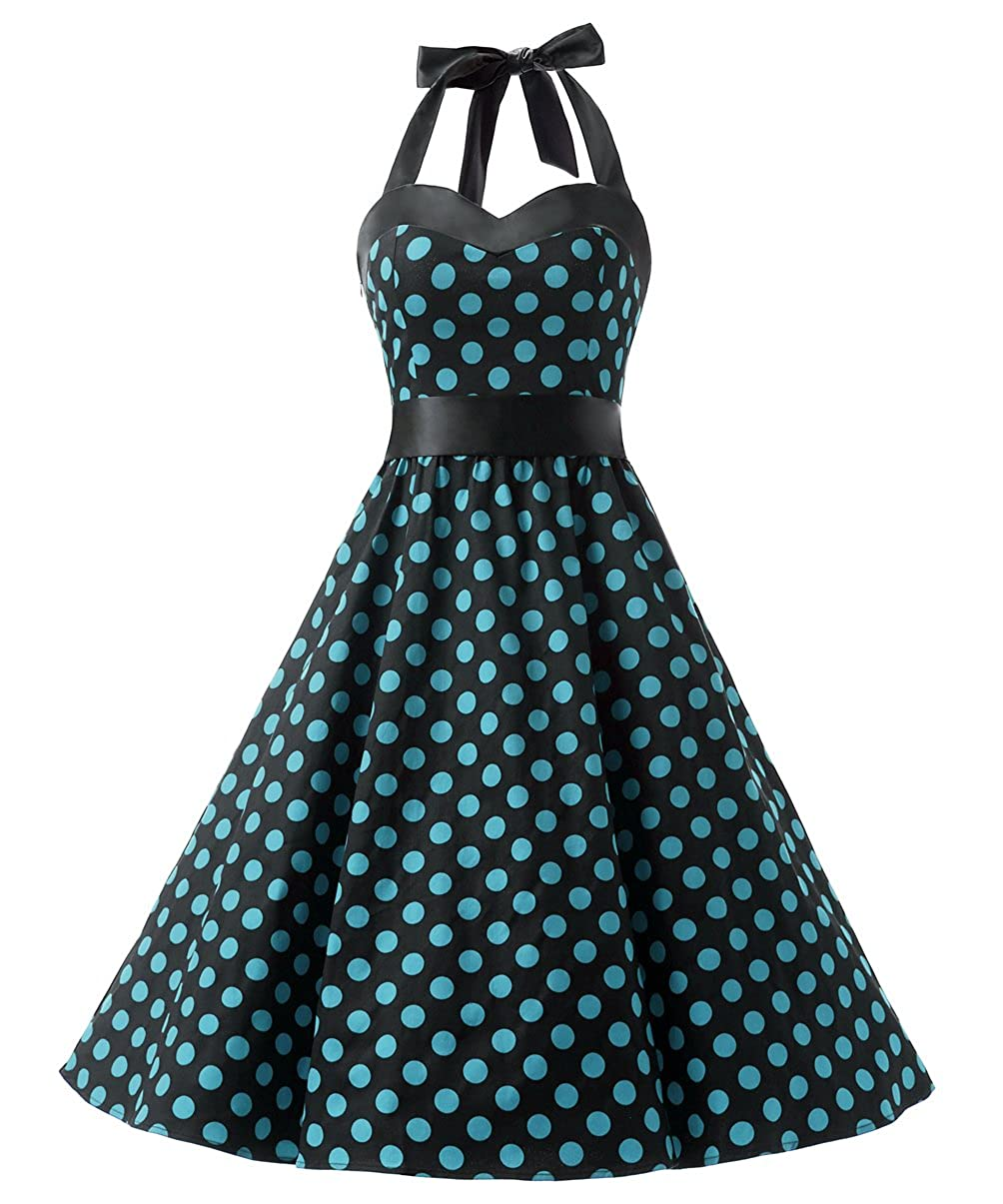 TALLA XS. Dresstells® Halter 50s Rockabilly Polka Dots Audrey Dress Retro Cocktail Dress Black Blue Dot XS