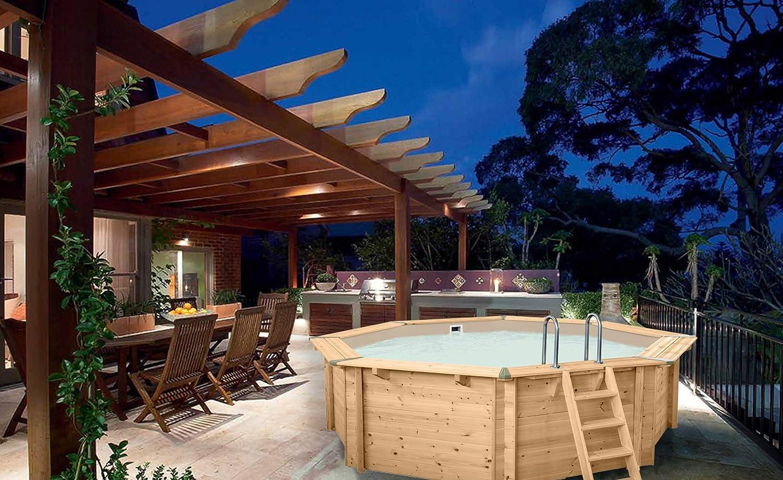 Piscina de madera Bali de Paradies, incluye caseta de bomba, escalera de acero inoxidable, piscina para el jardín, diversión en el baño para toda la familia, piscina octogonal, 530 x 136 (diámetro