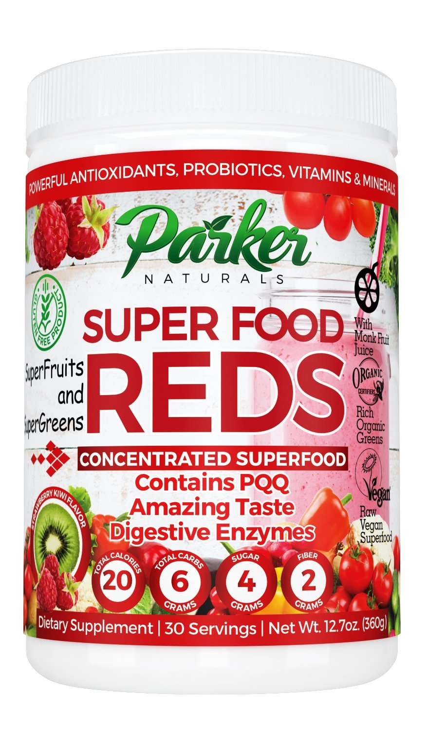 Superfood Reds by Parker Naturals Organic Antioxidant Powder: Super Food Energy Mix with SuperFruits and SuperGreens. High ORAC Score. by Parker Naturals