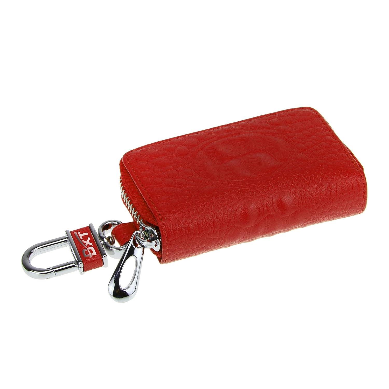 Key Case Holder Smart Car key/Chain Keychain Keyring Zipper Bag Leather Key Holder Cover Remote Wallet Bag with Metal Hook